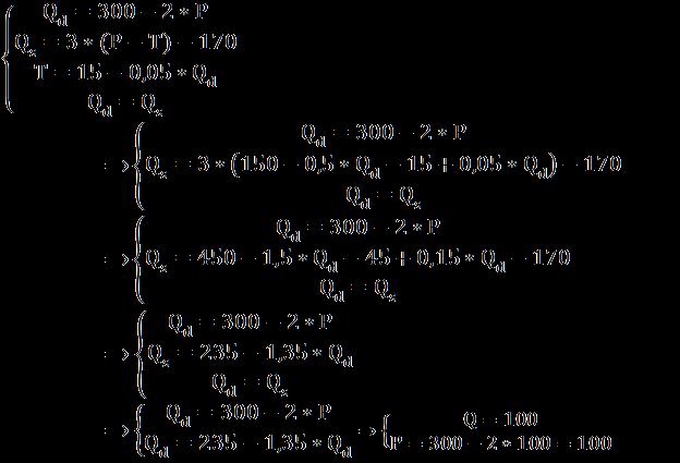 Расчёт параметров равновесия после введения налога